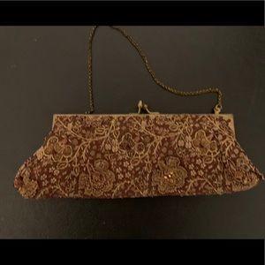 Brown silk beaded clutch